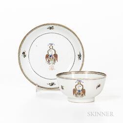 Society of the Cincinnati Export Porcelain Tea Bowl and Saucer