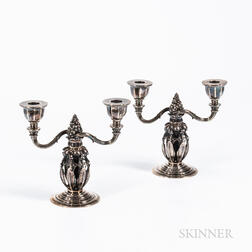 Pair of Georg Jensen (Danish, 1866-1935) Sterling Silver Candelabra