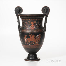 Wedgwood Encaustic Decorated Black Basalt Volute Krater Vase