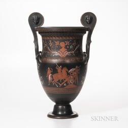 Wedgwood Encaustic Decorated Black Basalt Volute Krater Vase