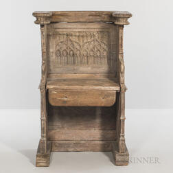Gothic-style Carved Oak Choir Stall