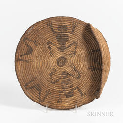 Southwest Coiled Pictorial Basketry Tray