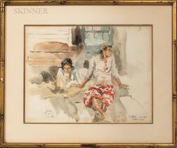Charles Sarka (American, 1879-1960)      PUEU AHURI/FARRI URA   (Tahitian Figures)