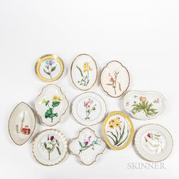 Eleven English Pottery and Porcelain Floral-decorated Dishes