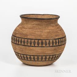Yokuts Polychrome Basketry Jar