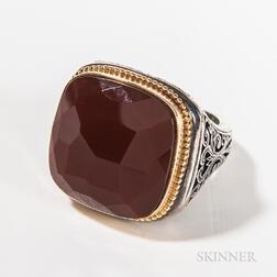 Gerochristo Sterling Silver and Carnelian Gentleman's Ring