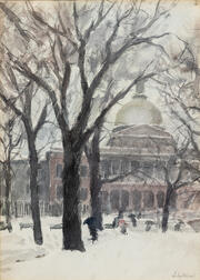John Whorf (American, 1903-1959)      State House in Storm - Winter
