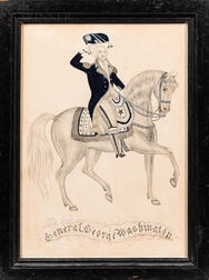 """Pen and Ink on Paper Drawing of """"General George Washington,"""""""