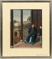 Chinese School, 19th Century      Man Seated in His Courtyard (Portrait of a Prince of China  )