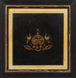 "British School, 19th Century      Coat of Arms Bearing the Latin Mottos ""In Utraque Fortuna Paratus"" and ""Tria Juncta in Uno"""