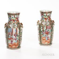 Pair of Rose Medallion Pattern Export Vases