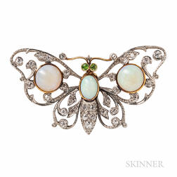 Edwardian Opal and Diamond Butterfly Pendant/Brooch