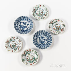 Two Blue and White Dishes and Four Famille Verte Dishes