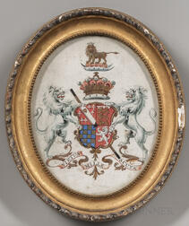 British School, 19th Century      Four Framed Heraldic Coats of Arms