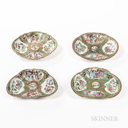 Four Shaped Rose Medallion Pattern Export Porcelain Dishes