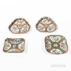 Four Rose Medallion Pattern Export Porcelain Trays