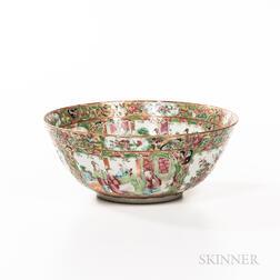 Small Rose Medallion Pattern Export Porcelain Punch Bowl