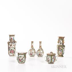 Six Rose Medallion Pattern Export Porcelain Items
