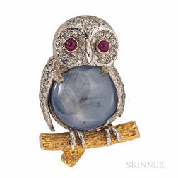 E. Wolfe & Co. 18kt Gold, Star Sapphire, and Diamond Owl Brooch