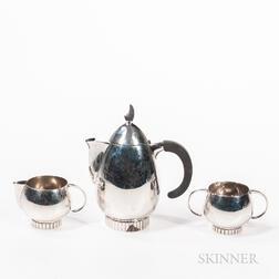 Frank Smith Art Deco-style Three-piece Sterling Silver Tea Set