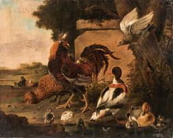 After Melchior de Hondecoeter (Dutch, 1636-1695)      Roosters, Ducks, and Hawk in a Landscape