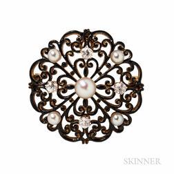 Antique Tiffany & Co. Gold, Enamel, Pearl, and Diamond Pendant/Brooch