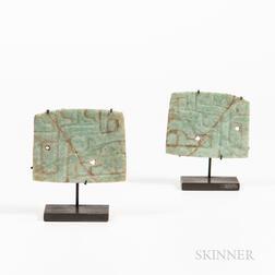 Pair of Olmec Jade Plaque Pendants