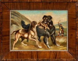 British School, 19th Century      Two Hunting Dogs in a Field with their Scottish Master