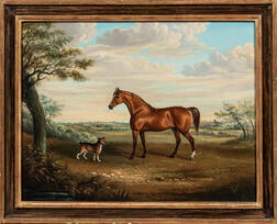 British School, 19th Century      Portrait of a Horse and Dog in a Landscape
