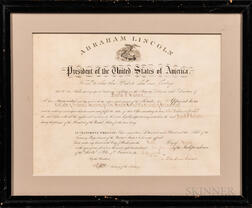 Lincoln, Abraham (1809-1865) Signed Collector of Internal Revenue Appointment.