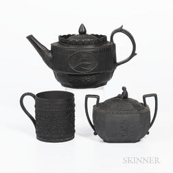 Three Wedgwood Black Basalt Items