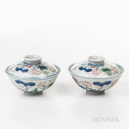 Pair of Doucai Bowls and Covers