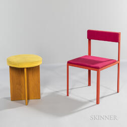 Painted Steel-frame Chair and an Oak Stool