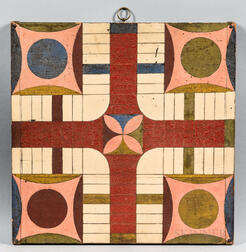 Painted Double-sided Parcheesi and Checkers Game Board