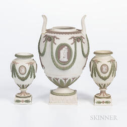 Three Wedgwood Tricolor Jasper Vases