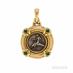 18kt Gold and Silver Coin Pendant