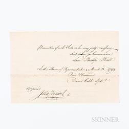 Hancock, John (1737-1793) Document Signed, 20 March 1793.