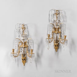 Pair of Gilt-bronze Two-light Wall Sconces