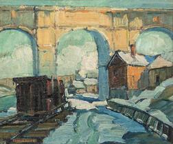 Edwin H. Gunn (American, 1876-1940)      Trainyard and Arched Bridge in Snow