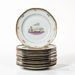 Set of Fourteen Export Porcelain Plates