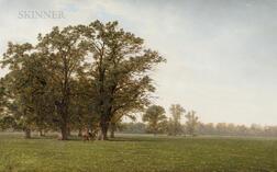 John Frederick Kensett (American, 1816-1872)      Landscape with Horses, Hudson, New York