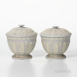 Pair of Wedgwood Pale Lilac Jasper Dip Bowls and Covers