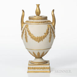 Wedgwood Gilded White Stoneware Vase and Cover