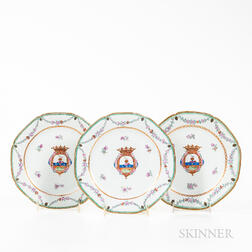 Three Armorial Export Porcelain Plates