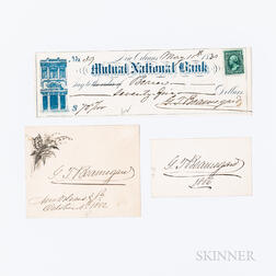 Beauregard, P.T. (1818-1893) Two Signed Cards and a Signed Check.
