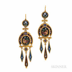 Archeological Revival Gold and Micromosaic Earrings