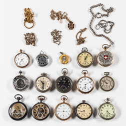 Fourteen American and European Watches and Chains.   Estimate $100-150