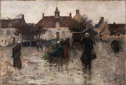 Eugène Laurent Vail (American/French, 1857-1934)      La Vieille Place D'Etaples