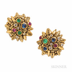 Alex Sepkus 18kt Gold Gem-set Earrings