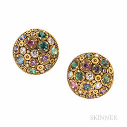 "Alex Sepkus 18kt Gold, Diamond, and Gem-set ""Blooming Hill"" Earrings"